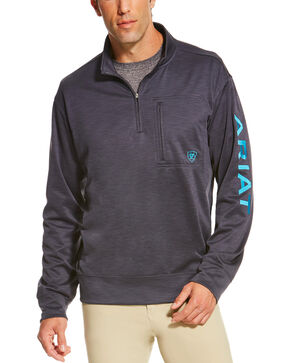 Ariat Men's Charcoal Team Logo 1/4 Zip Pullover , Charcoal, hi-res