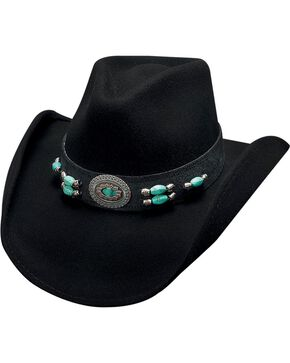 Bullhide Jewel of the West Wool Cowgirl Hat, Black, hi-res