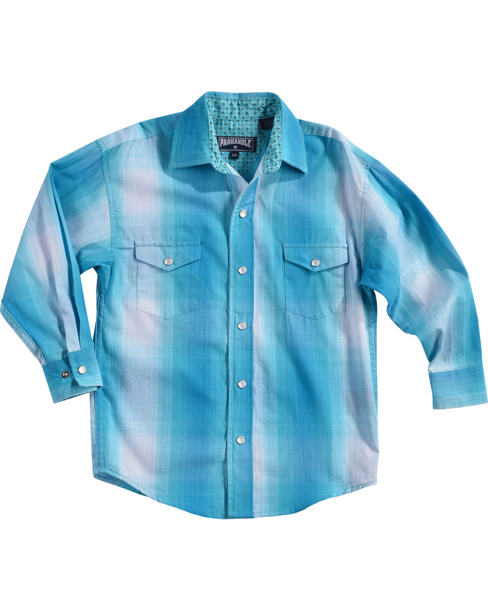 Panhandle Boys' Long Sleeve Plaid Snap Shirt, Blue, hi-res