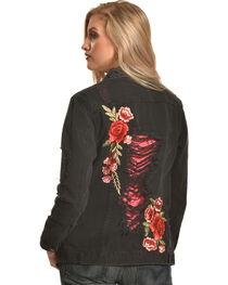 Boom Boom Jeans Women's Black Destructed Floral Denim Jacket , , hi-res