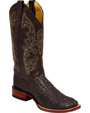 Ferrini Men's Caiman Print Western Boots - Square Toe , Distressed Brown, hi-res