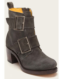 Frye Women's Sabrina Double Buckle Charcoal Suede Boots , , hi-res
