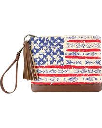 Shyanne® Women's Mixed Print American Flag Clutch , , hi-res