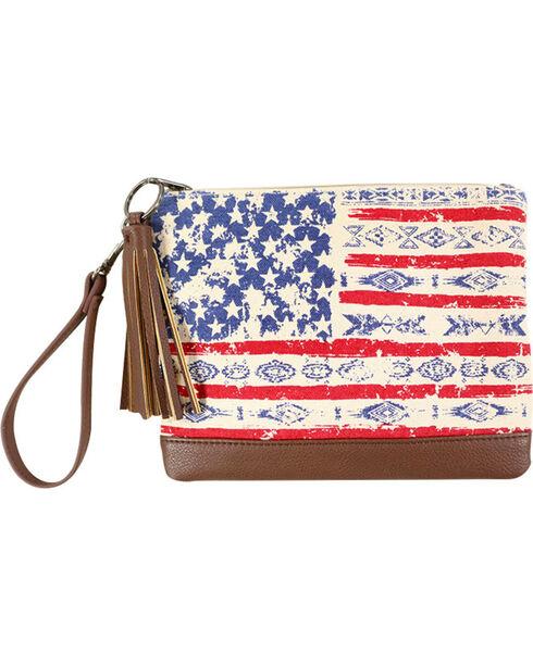 Shyanne® Women's Mixed Print American Flag Clutch , Multi, hi-res
