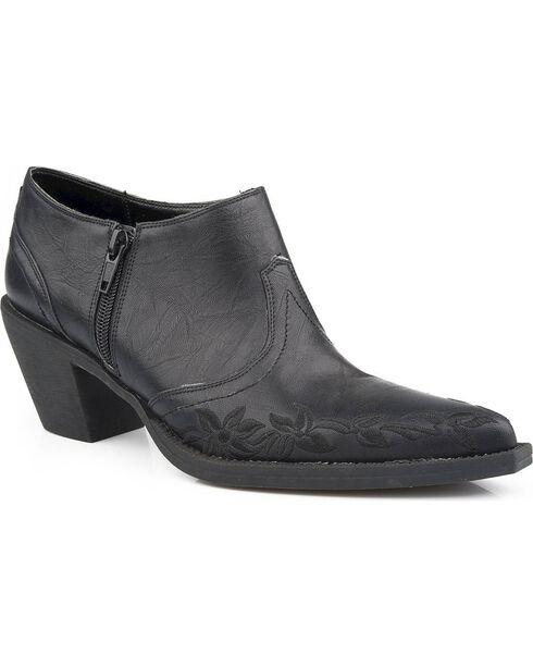 Roper Women's Floral Embroidered Western Ankle Boots, Black, hi-res
