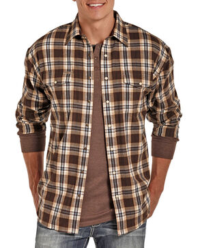 Powder River by Panhandle Men's Brushed Plaid Flannel, Brown, hi-res