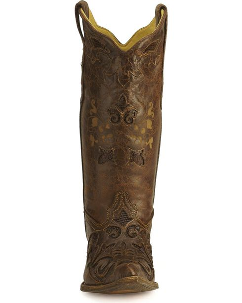 Corral Women's Lizard Inlay Exotic Boots, Chocolate, hi-res