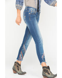 Miss Me Women's Indigo Frayed Embroidered Jeans - Ankle Skinny, , hi-res