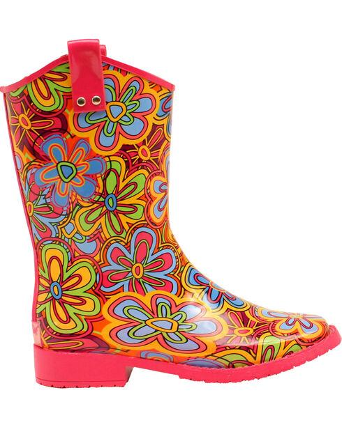 Blazin Roxx Girls' Presley Daisy Rain Boots - Square Toe, Multi, hi-res