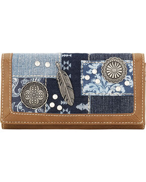 Bandana by American West Women's Indigo Flap Wallet, Blue, hi-res