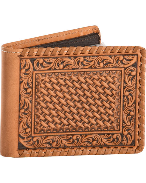 Cody James Men's Tooled Bi-Fold Wallet, Tan, hi-res