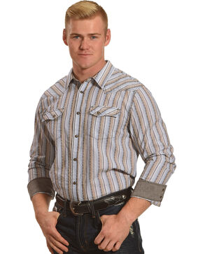 Cody James Men's Lariat Striped Western Long Sleeve Shirt, Tan, hi-res