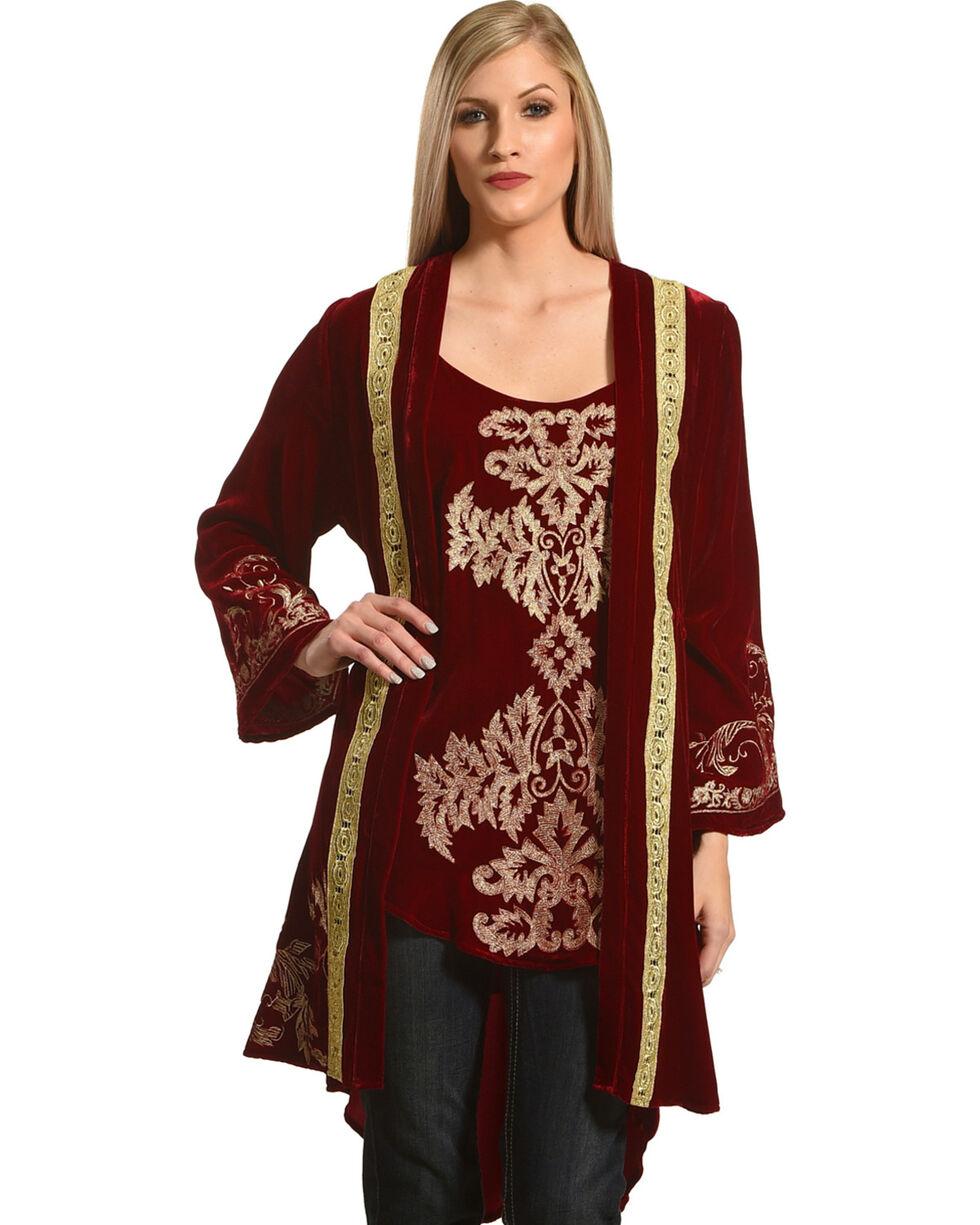 Tasha Polizzi Women's Royal Velvet Robe, Red, hi-res