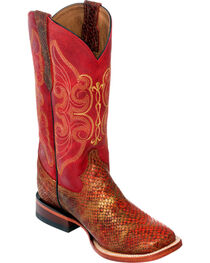 Ferrini Women's Red Snake Print Cowgirl Boots - Square Toe, , hi-res
