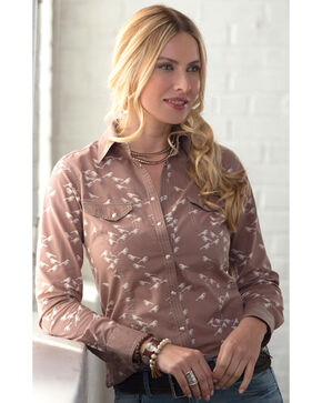 Ryan Michael Women's Bird Print Shirt, Taupe, hi-res