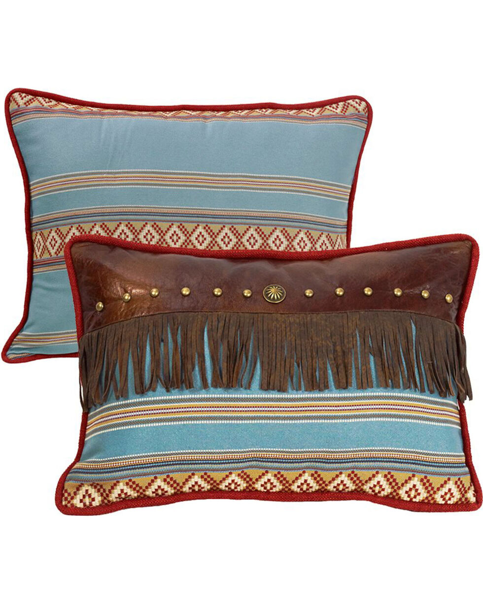 HiEnd Accents Ruidoso Blue Striped Fringe Throw Pillow, Multi, hi-res