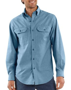 Carhartt Men's Long Sleeve Chambray Shirt, Chambray, hi-res