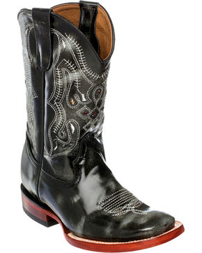 Ferrini Boys' Marble Cowhide Western Boots - Square Toe, Black, hi-res