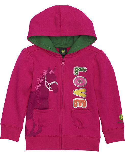 John Deere Toddler Girls' Pink Love Horse Fleece Hoodie , Pink, hi-res
