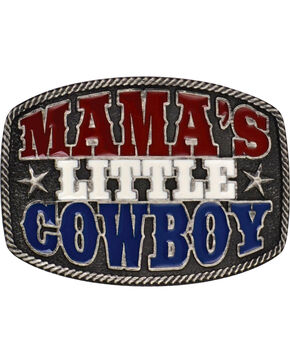 Montana Silversmiths Kid's Mama's Little Cowboy Belt Buckle, Grey, hi-res
