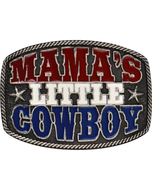 Montana Silversmiths Kid's Mama's Little Cowboy Belt Buckle, Grey, hi-res