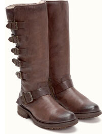 Frye Women's Dark Brown Valerie Belted Tall Shearling Boots - Round Toe , , hi-res