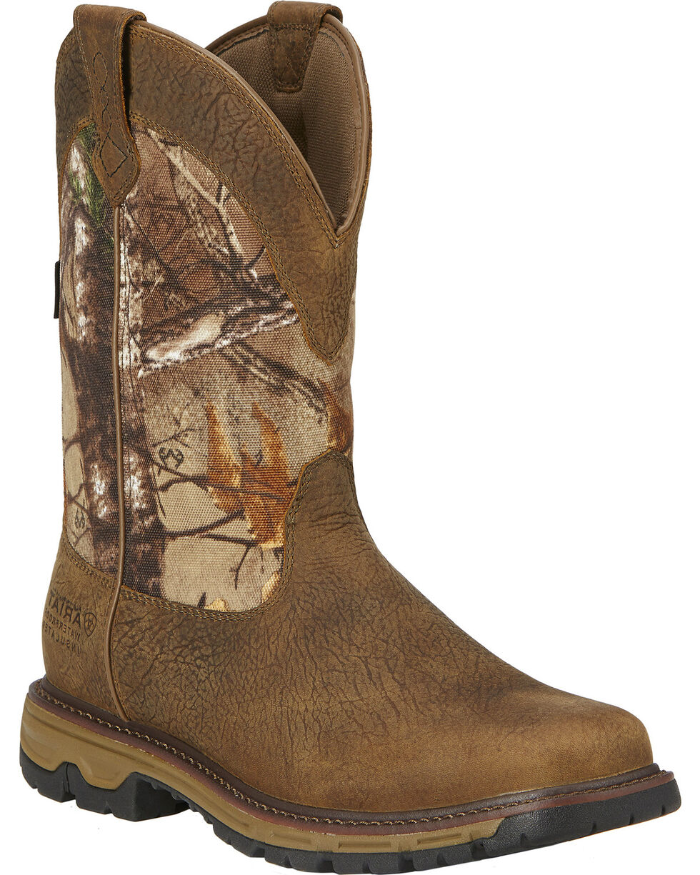 "Ariat Men's Conquest 11"" H20 Insulated Pull-On Hunting Boots, Brown, hi-res"