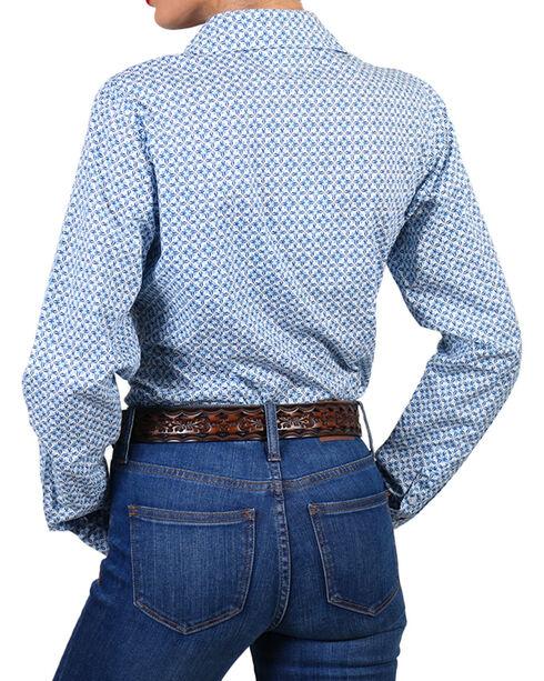 Shyanne Women's Print Long Sleeve Western Shirt, White, hi-res