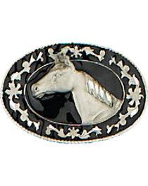 Western Express Men's Black Small Horsehead Belt Buckle , , hi-res