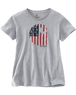 "Carhartt Women's Lubbock Short Sleeve American Branded ""C"" Graphic Tee, Grey, hi-res"