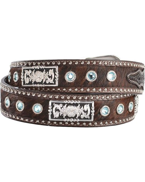 3D Fancy Concho & Rhinestone Hair-on-Hide Western Belt, Tan, hi-res