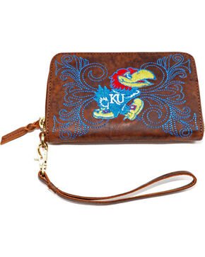 Gameday Boots University of Kansas Leather Wristlet, Brass, hi-res