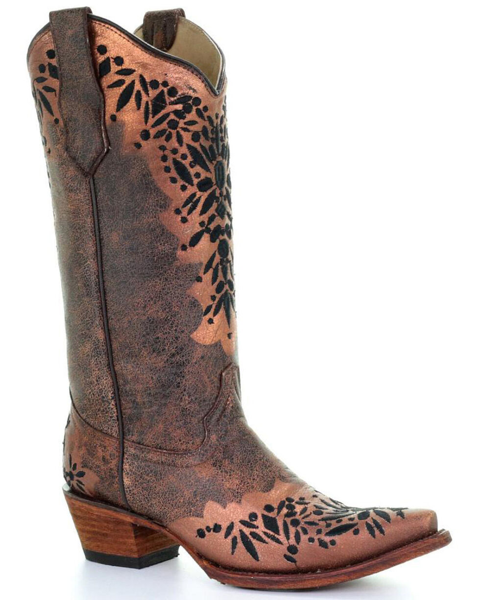 Circle G Women's Shedron Black Embroidered Cowgirl Boots - Snip Toe, Multi, hi-res