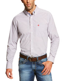 Ariat Men's White Marco Long Sleeve Shirt - Big and Tall , , hi-res