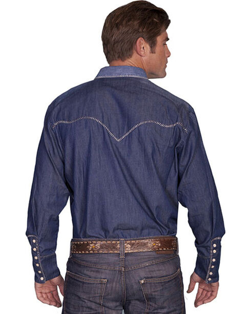 Scully Men's Long Sleeve Western Shirt, Blue, hi-res