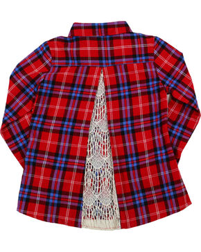 Shyanne® Girls' Peekaboo Lace Plaid Long Sleeve Flannel, Red, hi-res