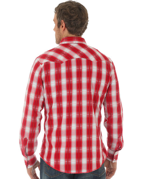 Wrangler Men's Red Fashion Snap Long Sleeve Plaid Shirt , Red, hi-res