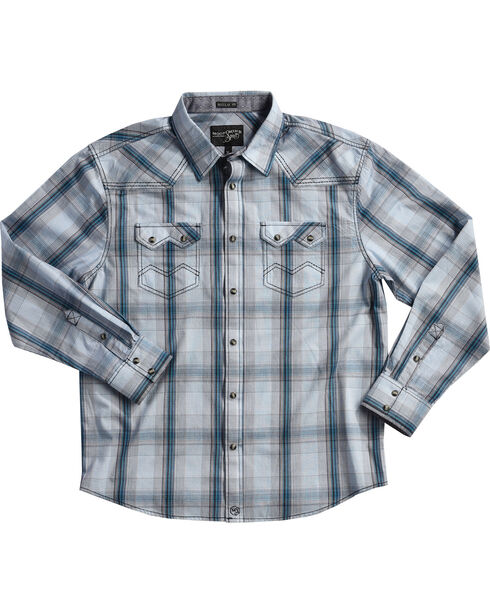 Moonshine Spirit Men's White Plaid Ghost Town Long Sleeve Shirt , White, hi-res