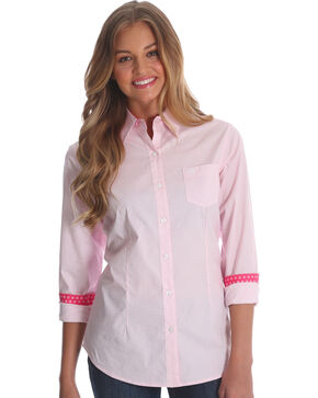 Wrangler Women's Pink George Strait Geo Print Shirt , Pink, hi-res