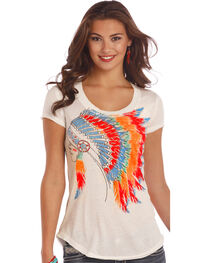 Rock & Roll Cowgirl Women's Natural Colorful Headdress Graphic Tee, , hi-res