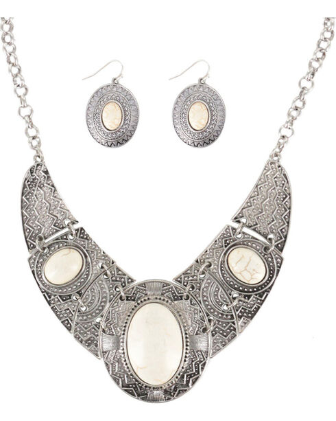 Shyanne® Women's Aztec Inspired Jewelry Set, Cream, hi-res