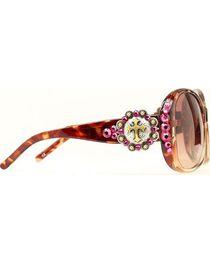 Blazin Roxx Rhinestone Concho with Cross Brown Sunglasses, , hi-res