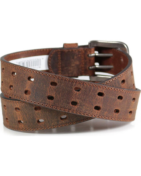 American Worker® Men's Crackle Leather Belt, Brown, hi-res