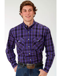 Roper Men's Jupiter Plaid Long Sleeve Button Down Shirt, Purple, hi-res