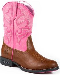 Roper Girls' Lightning Light-Up Western Boots, , hi-res