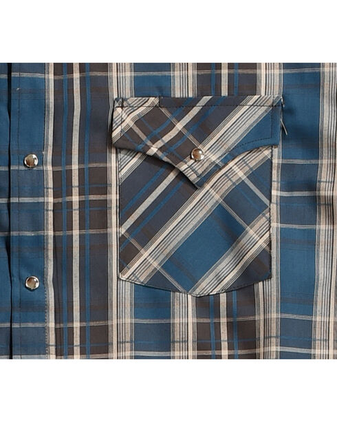 Ely Cattleman Men's Blue Textured Plaid Long Sleeve Snap Shirt, Teal, hi-res