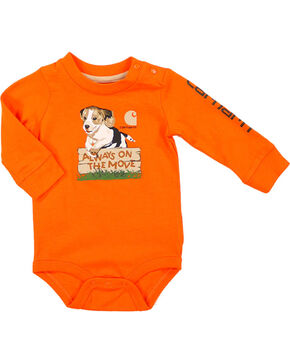 Carhartt Toddler Boys' Always on the Move Long Sleeve Onesie, Orange, hi-res