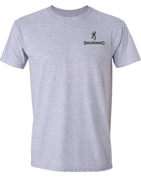 Browning Men's Mossy Oak Bottomland Buckmark Short Sleeve Tee, Grey, hi-res