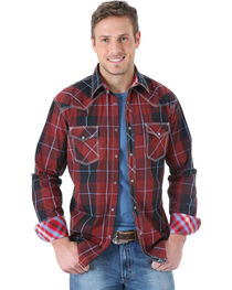 Wrangler Men's Contrast Plaid Long Sleeve Shirt, , hi-res