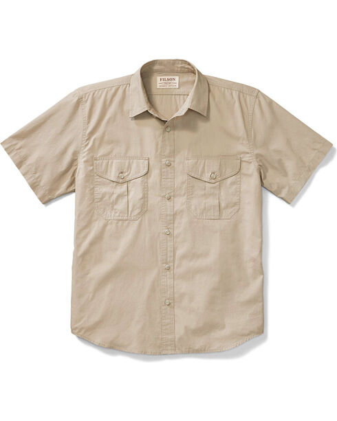 Filson Men's Tan Short Sleeve Feather Cloth Shirt , Tan, hi-res